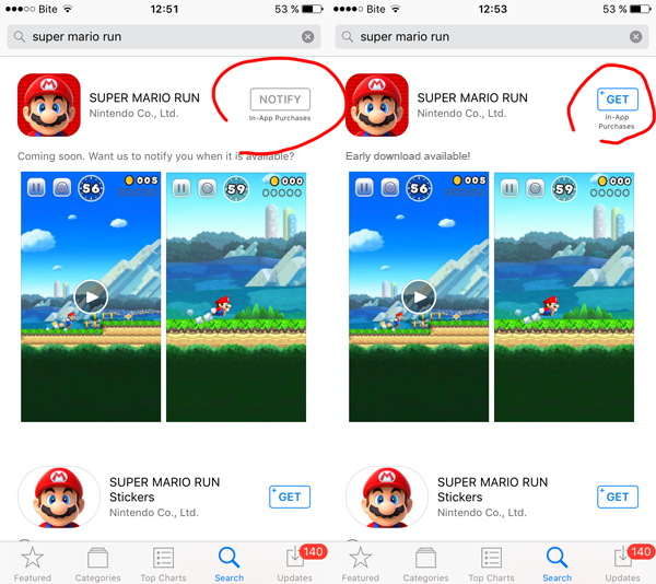 Super Mario Run early download app store